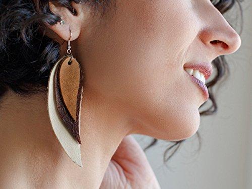 Cream, brown and beige Feather Leather Earrings, layered earrings, tribal Earrings, Boho earrings, dangle earrings, long earrings