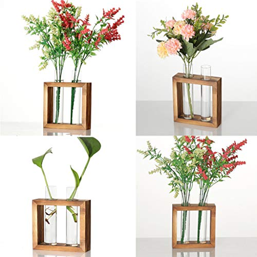 JHFUH Creative Hydroponic Plant Transparent Vase Exquisite Workmanship Wooden Frame Coffee Shop Room Decor Suitable for Home Desk Decoration Craft Ornaments