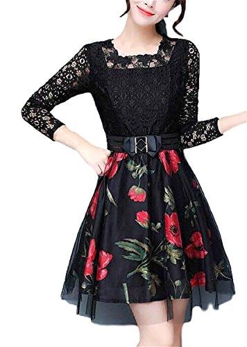 クラッシュ消費魅了するmomoti 一枚仕上げ セクシー レース 袖 ひざ丈 花柄 レディース ドレス ワンピース 結婚式 二次会 お呼ばれ きれいめ 大きいサイズ