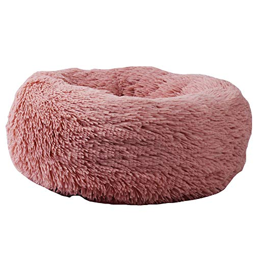 Dog Bed Luxury Donut (Luxury Fur Donut Cuddler Pet Dog and Cat House Detachable Wash Soft Fleece Pet Nest Pet House Pet Supplies,Brass,L)