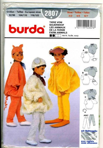 (Burda 2807 Child's Costume Pattern, Farm Animals: Pig, Duck, Lamb Sizs 2/3, 4/5,)