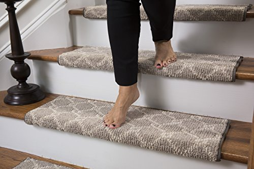 Parterre Wool Inspired Bullnose Carpet Stair Tread with Adhesive Padding, Color - Chantilly, by Tread Comfort (Single 31