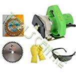 TOOLSCENTRE Tools Centre Powerful Cutting Machine With Free 3 In 1 Wheel (Segmented,Turbo,Rim ) For Granite,Marble,Brick,Concrete + 1Pc Tct Wheel For Wood Cutting + Safety Goggles & Gloves Combo Offer