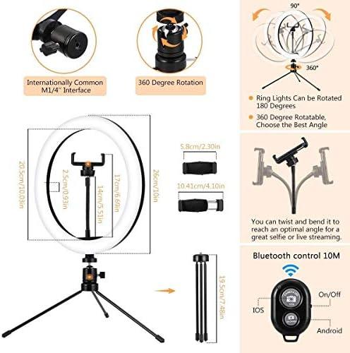自分撮りリングライト付き三脚スタンド&携帯電話ホルダー、メイクアップティックトックのYouTubeのために3照明モード10 LCDの明るさ調光LEDリングライト