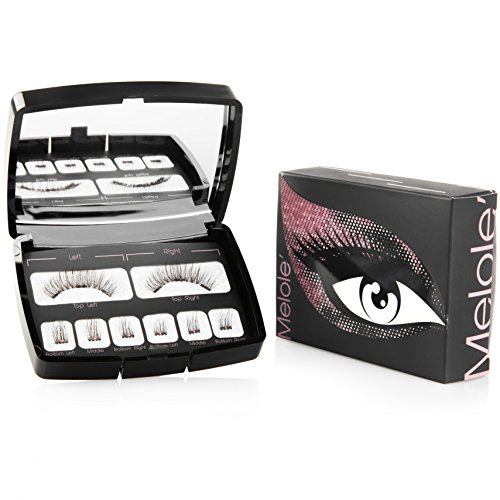 Melole Full Eye Magnetic Eyelashes: No Glue Sophie Fake Eyelash Extensions with 3 Magnets - Easy to Apply Reusable Magnetic Lashes with Mirrored Case - Korean Silk False Lash Fibers - Natural Look - Full Faux Eyelashes