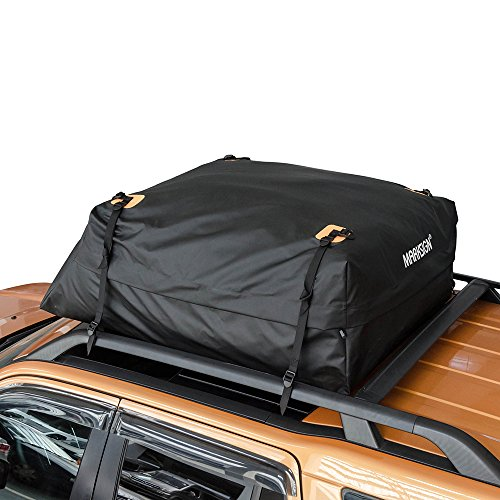 MARKSIGN 100% Waterproof Car Rooftop Cargo Carrier Bag, 17.5 cu ft, Waterproof Zipper and Rain Flap, Nylon UV Proof Straps Fits Vehicles with Side Rails or Cross Bars, Aerodynamic Design