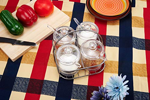 UniTendo Set of 4 Acrylic Seasoning Box Storage Container Condiment Jar Condiments Server Pots - Cream and Sugar Canister,Dip Bowls Set with Lids,Spoons&Tray by UniTendo