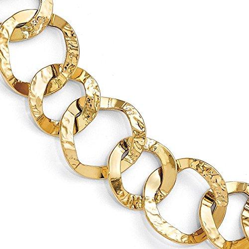 Or 14carats martelé et poli Fancy-Bracelet Lien-20cm