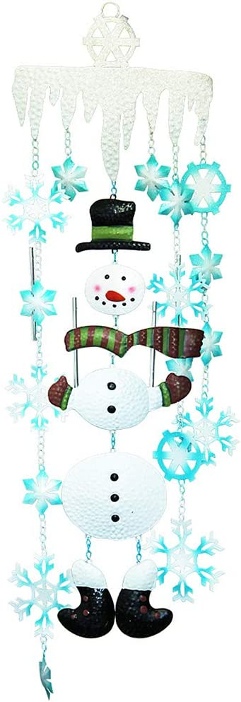 Juegoal Christmas Snowman Wind Chimes with Metal Snowflake, Large for Kids, Xmas Holiday Party Indoor Outdoor Hanging Decoration, 33 Inch