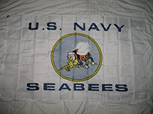 Navy Seabees Us Navy White 3X5 Flag Super Poly Indoor/Outdoor (Licensed By Navy)