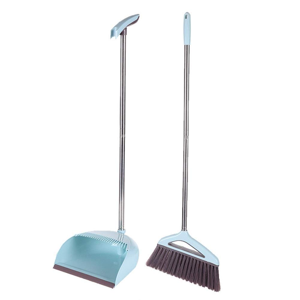 Broom Dustpan Set Wiper Broom Combination Bathroom Plastic Sweeping Man Home Magic Scraping Artifact 2 Piece Set / 3 Sets (Color : Blue, Size : Two-piece set) by Broom&Dustpan