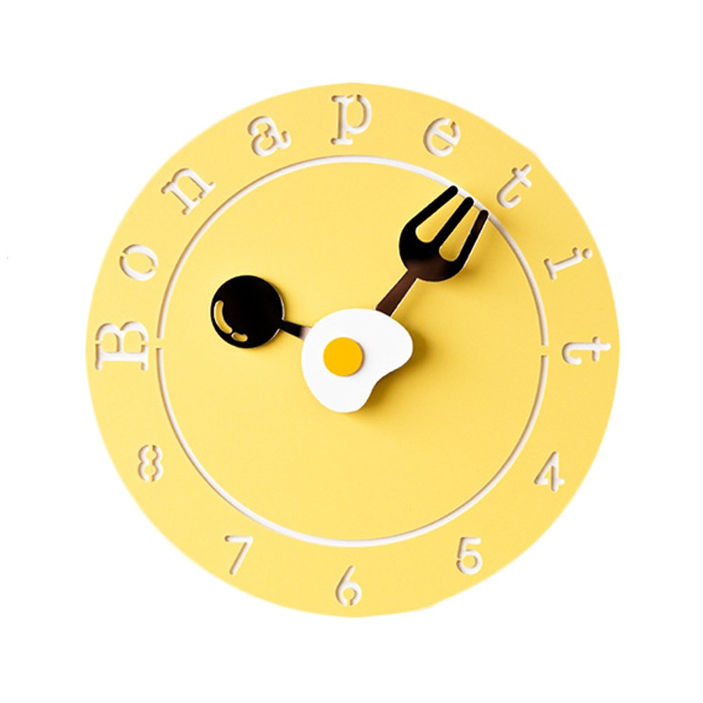 TIANTA- Poached egg creative design wall clock character fashion bedroom mute children's cartoon cute clock ( Color : Yellow , Size : 10 inches )