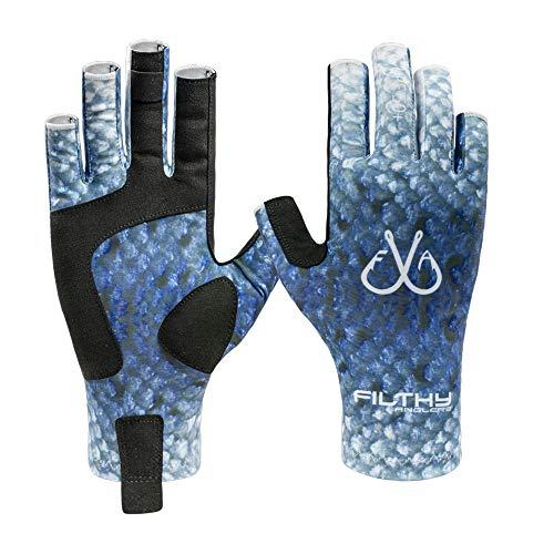Filthy Anglers Fingerless Fishing Gloves Lightweight UV Sun Protection UPF 50+ Sun Gloves Men Women for Kayaking, Hiking, Paddling, Rowing (Blue, Large)