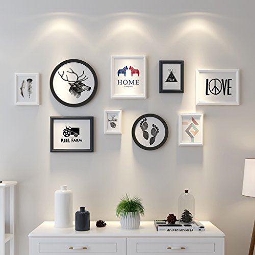 ALUS- 9 Multi Photo Frames Set Simple Nordic Style Wood Creative Dining Room Bedroom Wall Photo Picture Wall Frame ( Color : Black+white ) by CXM-Photo Wall