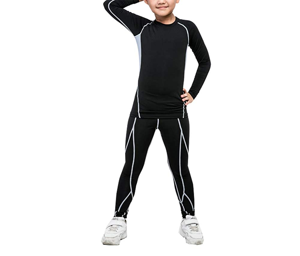 Boys Girls Athletic Base Layer Compression Underwear Set 2 Pcs Set Long Top and Bottom
