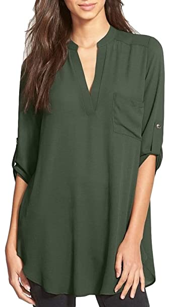 6e4f16b54b3 Women's Roll Tab Sleeve Tunic,Perfect Long for Leggings Shirt Cute  Versatile Top(Olive