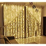 LED Curtain Lights 9.8 x 9.8-Feet 306 LED Twinkle Lights with 8 Modes Memory Controller (Warm White)