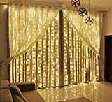 LIIDA Curtain Lights, LED Twinkle Lights 9.8 x 9.8ft Warm White Curtain Icicle Lights With 8 Modes Controller for Holiday, Party, Outdoor Wall, Wedding Decorations (YELLOW)