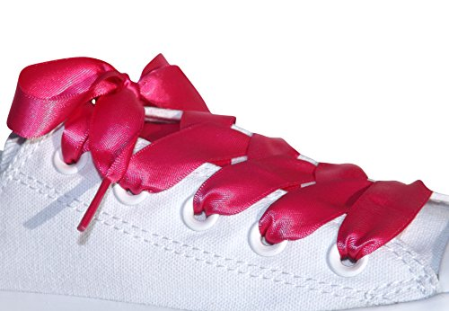 Shocking Pink Flat Satin Ribbon Shoelaces, Shoe Laces For Kids, Youths & Womens Trainers, Sneakers