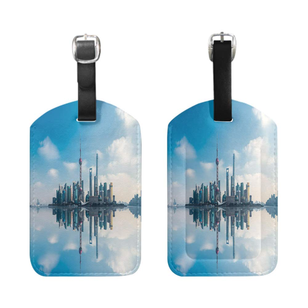Stylish Patterned Private Luggage Tag leather name ID tag with privacy cover bescribe Panoramic view of landscape with dark silhouettes of hills and mountains behind forest under-2-Piece