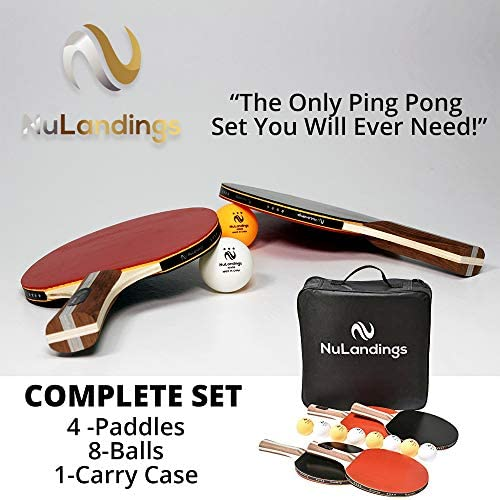 NuLandings Ping Pong Paddle Set – 4 Professional Table Tennis Rackets Paddles – 8 Premium 3-Star ITTF Standard Balls Portable Cover Case Holder – Precise Racquet Control, Speed and Spin – Bundled Kit