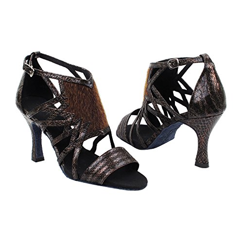 50 Shades Of Tan Zapatos De Vestir Dance Collection-ii, Comfort Vestido De Noche Wedding Pumps, Zapatos De Salón Para Latinos, Tango, Salsa, Swing, Theather Arte Por 50 Shades (2.5, 3 & 3.5 Heels) Sera7016 Brown Snake
