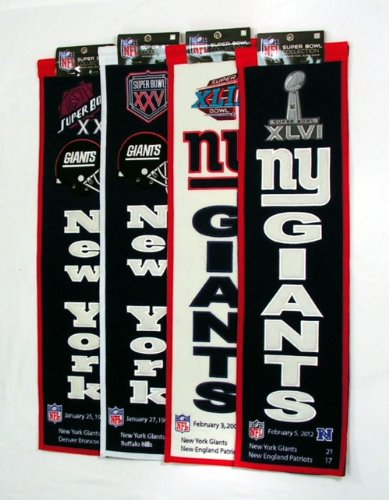 Winning Streak New York Giants Super Bowl XXI XXV XLII XLVI Championship 8x32 Wool Banner SET