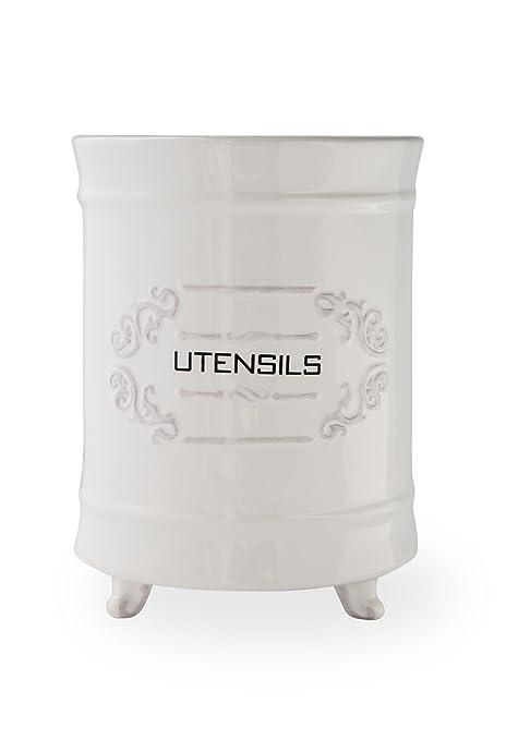 French White Ceramic Utensil Holder - Vintage Style Kitchen Utensil Caddy -  Shabby Chic Cooking Utensil Organizer - Rustic French Country Utensil ...