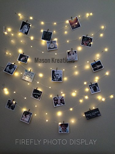 Image of the Mason FireFly Lights Silver Wire - Craft clips & Batteries included! Hangit, picture lights, photo string lights, fairy lights for dorm, fairy lights for bedroom, fairy lights hanging, fairy lights