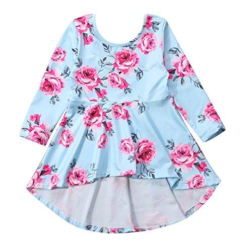 Mornbaby Toddler Kids Girl Flower Printing Short Front Long Back Floral Dress Long Sleeve Cocktail Dress (Blue, 1-2Y)