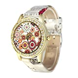START Women Bling Diamond Crystal Oil Painting Pattern Wrist Watch-Gray