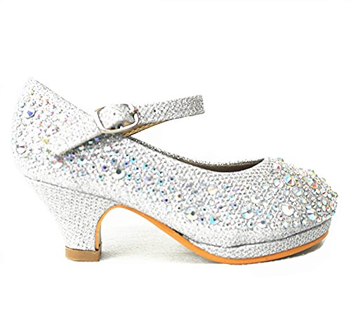 Link SF Riley-79K Girls Youth Pageant Jewel Rhine Stone Mary Jane High Heel Dress Shoes (12, Silver-58k)]()