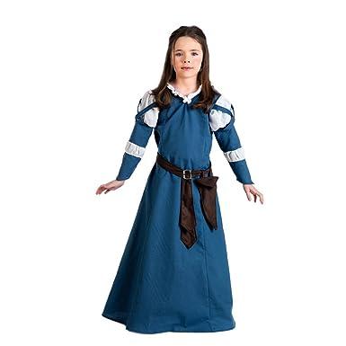 Kostüm Mädchen Mittelalter Blau Elbenwald Burgmaid Kinder Kleid oderCxBW