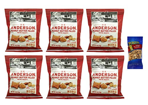 (H.K. Anderson Peanut Butter Filled Pretzel Nuggets 4 oz (6 Pack) with Free Mini Planters Salted Peanuts 1 oz)