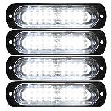 Automotive : Primelux 4 Pack 4.4-inch Ultra Thin Slim Strobe LED Lighthead - Emergency Hazard Beacon Caution Warning Strobe Lights for Truck Car Vehicle Law Enforcement Snow Plow (White/White)