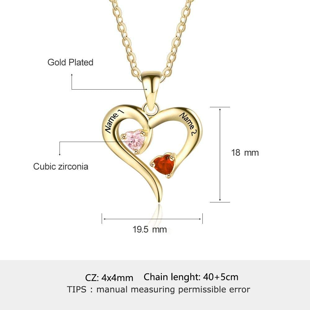 Meеt U Personalized 925 Sterling Silver 2 Birthstone Necklace Pendants Engraved Heart BirthStones Necklace Mom Gift