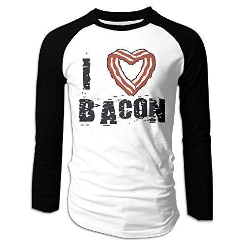 Bacon Egg And Cheese Costume (Men's I Heart Bacon Tri-Blend Long Tee Baseball Shirt Raglan Size XL Color Black)