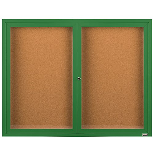 TableTop King DCC4872RG 48'' x 72'' Enclosed Hinged Locking 2 Door Powder Coated Green Finish Indoor Bulletin Board Cabinet by TableTop King