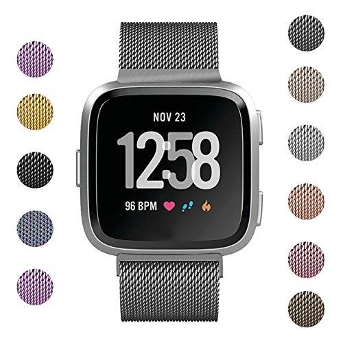 Fundro Compatible Fitbit Versa Bands, Milanese Loop Stainless Steel Metal Replacement Bracelet Strap with Magnetic Lock Wristbands for Fitbit Versa Women Men Small Large