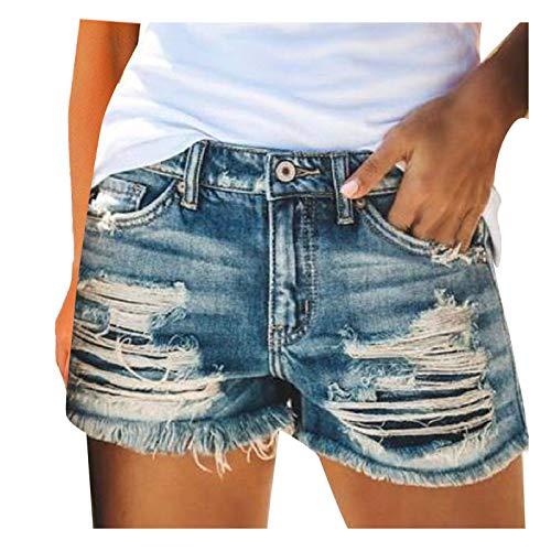 Risaho Damen Lochjeans Shorts Sommer Basic Jeansshorts Bequeme Kurze Jeans Hosen Denim Shorts Jeans Hot Pants Mädchen mit Quaste Gewaschene Distressed Löcher Shorts