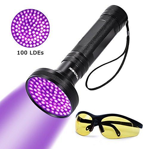 UV Blacklight Flashlight Super Bright 100 LED 18W