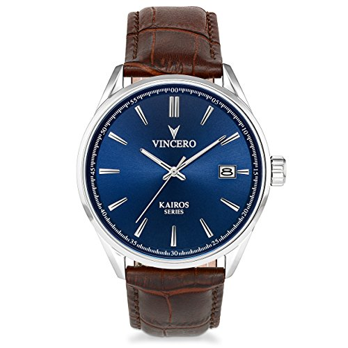 Vincero Luxury Men's Kairos Wrist Watch — Blue dial with Brown Leather Watch Band — 42mm Analog Watch — Japanese Quartz Movement (Quartz Japanese Watch Movement)