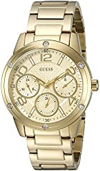 GUESS Women's U0778L2 Sporty Gold-Tone Watch with Gold Dial , Crystal-Accented Bezel and Stainless Steel Pilot Buckle