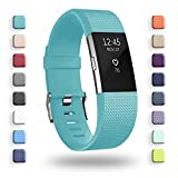 POY Replacement Bands Compatible for Fitbit Charge 2, Classic Edition Adjustable Sport Wristbands, Small Cyan