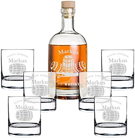 polar-effekt Set de regalo de 7 piezas con grabado personalizado, botella de whisky y 6 vasos de whisky – Jarra de cristal contenido: 700 ml – Idea de regalo para hombres – Diseño de barril de whisky
