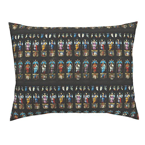 Brontes Haworth England Church Stained Glass Window Saints Standard Knife Edge Pillow Sham Angels & Ministers of Grace, by Peacoquettedesigns 100% Cotton Sateen