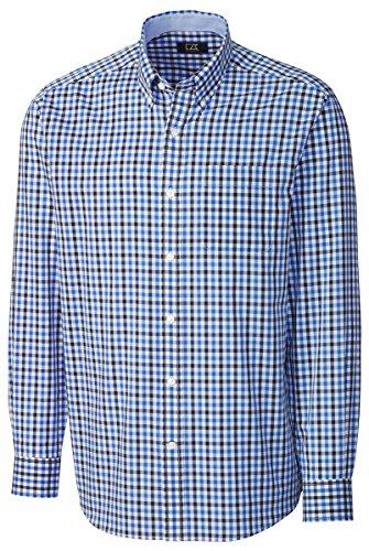 Cutter & Buck Men's Big-Tall Long Sleeve Cascade Range Gingham Shirt, Columbia, 3X Broad