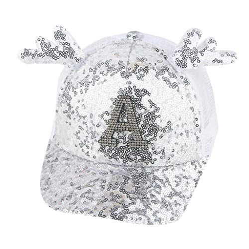 HYIRI Summer Leisure Sunhat Parent-Child Women's Lady Paillette Hat Baseball Cap Silver