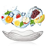 Modern Decorative Fruit Basket Storage Bowl, Large Decorative Metal Basket, Blooming Flower Design (Matte Silver)