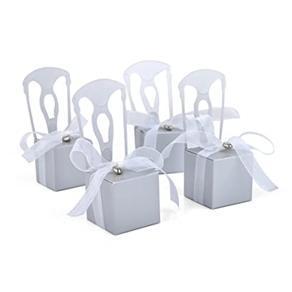 Aspire Wedding Favor Box Place Card Holders Diy Chair Party Favor Candy Box Small Gift Boxes Silver Chairs 200